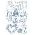 Wedding doodle set vector