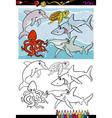 Sea life animals cartoon coloring book vector