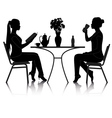 Cafe girls silhouette vector
