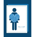 Blue white lineart plants woman in love vector
