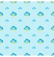 Flat modern cartoon clouds seamless pattern vector