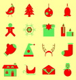 Christmas red and green color icons vector
