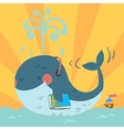 Cartoon cute blue whale vector