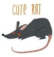 Cartoon cute black rat icon vector