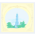 Lighthouse seen from a tiny beach - vintage poster vector