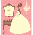 Bride in dressing room vector