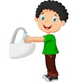 Boy washing his hands on a white background vector