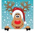 Rudolph deer holding blank paper vector