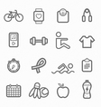 Exercise symbol line icon set vector