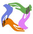 Color hands around vector