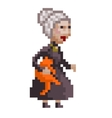 Old lady with a cat vector