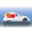 White pizza delivery car vector