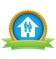 Gold love home logo vector