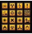 Hazard symbols orange s sign on black background vector