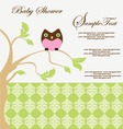 Baby shower card with owl vector