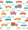 Colorful seamless pattern with cute cars and vector