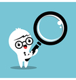 Business man cartoon with magnifying glass vector
