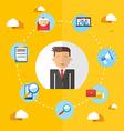 Social media businessman flat vector