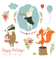 Set of cartoon characters and holidays elements vector