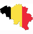 Map of belgium with national flag vector