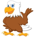 Cute eagle cartoon waving vector