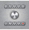 Set of audio system knobs on textured background vector
