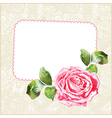 Watercolor rose with floral ornamental background vector