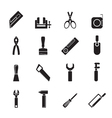Silhouette building and construction tools icons vector