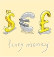 Dollar euro pound funny money signs vector