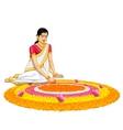Woman making rangoli for onam vector