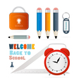Back to school theme - ruler alarm clock pencils vector