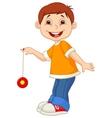 Little boy cartoon playing yo yo vector
