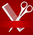 Scissors and comb - advertising barbershop vector