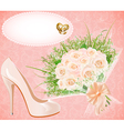 Background with shoes bouquet and rings f vector