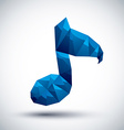 Blue musical note geometric icon made in 3d modern vector