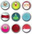 Christmas bottle caps buttons vector