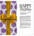 Birthday card with yellow ribbon and birthd vector