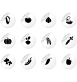 Stickers with vegetables icons vector