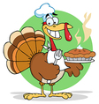 Happy turkey chef with hot pumpkin pie vector