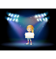 A stage with a young girl holding an empty signage vector