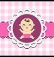 Baby girl announcement card vector