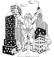 Santa claus with city vector
