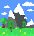 Cartoon landscape with mountains with natur vector