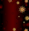 Red background with gold flowers vector