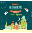 Two angels above cityscape christmas greeting card vector