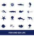 Fish and sea life icons set eps10 vector