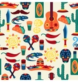 Mexican seamless pattern with icons in native vector