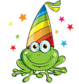 Crazy frog party cartoon on white background vector