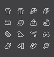 Men waer element white icon set on black backgroun vector