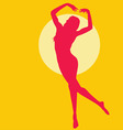 Dancing woman silhouette red on yellow vector